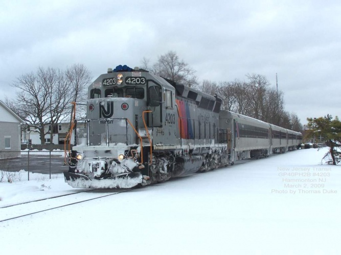 New Jersey Transit 4203 leads a stop at Hammonton on March 2, 2009. Photo by Thomas Duke.