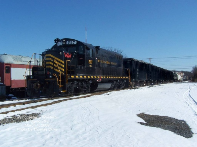 Winchester & Western 517 trails the train east from Bridgeton facility on March 4, 2009. Photo by Thomas Duke.