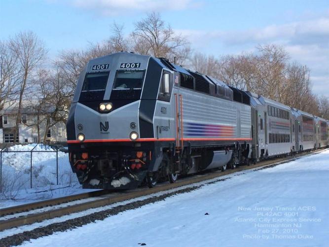 New Jersey Transit 4001 at Hammonton, NJ on Feb 27, 2010
