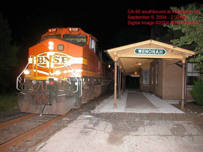 CA-90 with BNSF unit leading southbound at Wenonah, NJ.