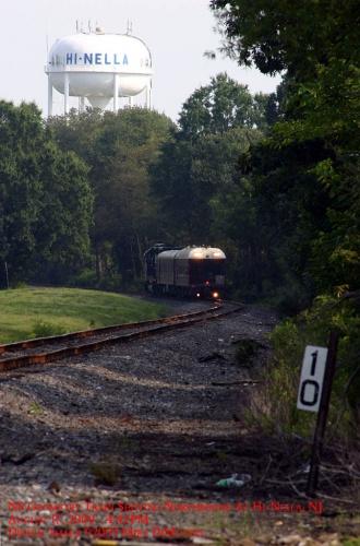 NS Geometry Train heads north, shoving, through Hi-Nella, NJ.