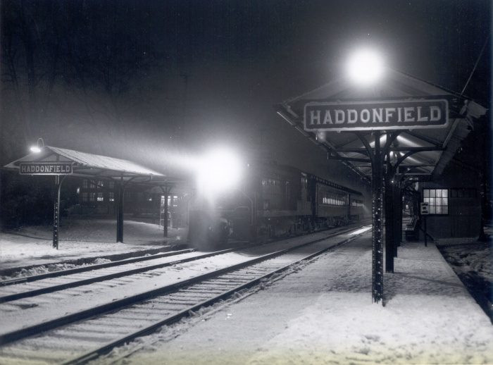 Haddonfield Station at night 1-1965 By R.Long
